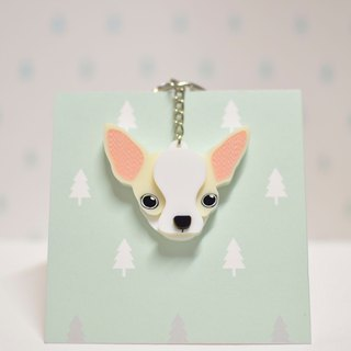 Chihuahua (Cream) - Keyrings - Pet Accessories - Pet Hanger - Hairy Kids - Gifts - Custom - Acrylic - BU