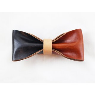 Clip on vegetable tanned leather bow tie - Black / Sepia color