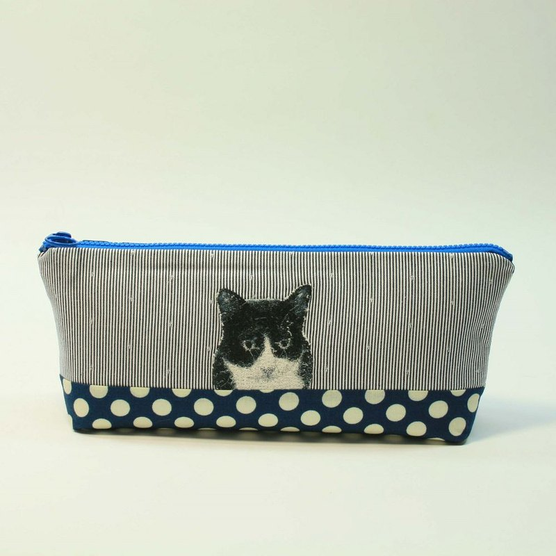 Embroidery Pencil Bag 19 - Black and White Cat