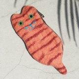 限量一件 天然羊毛氈小物袋 / 羊毛氈收納袋 / 零錢包 / 悠遊卡套 / 錢包 - 橘紅色條紋貓咪