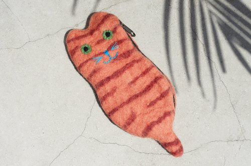 Limited edition of a natural wool felt small bag / wool felt bag / coin purse / swim card sets / purse - orange striped cat