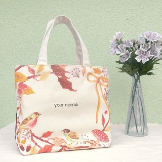 【Customized Name】 Flower / Print Canvas / Hand Bag - Gift Tote Bag
