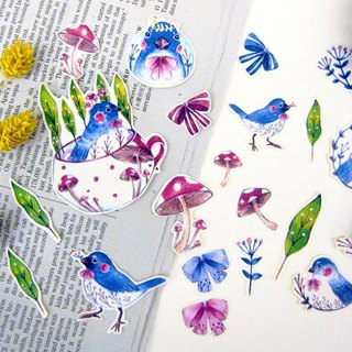 Enjoyable series - blue bird stickers into 20 groups