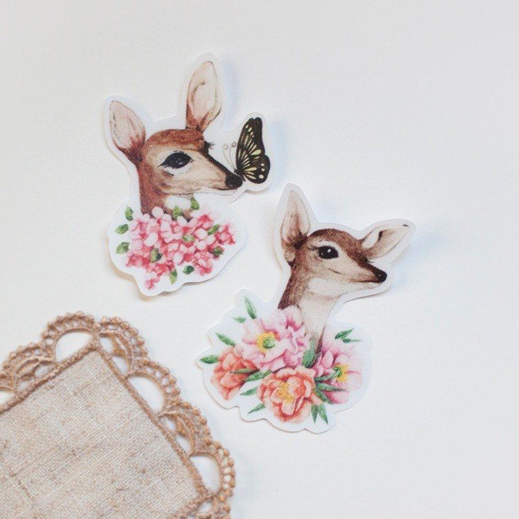 Outdoor stickers –Deer and flower- Choose 4 pieces