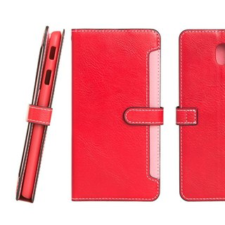 CASE SHOP Samsung Galaxy J7 Pro front storage side up stand leather case - red (4716779658057)