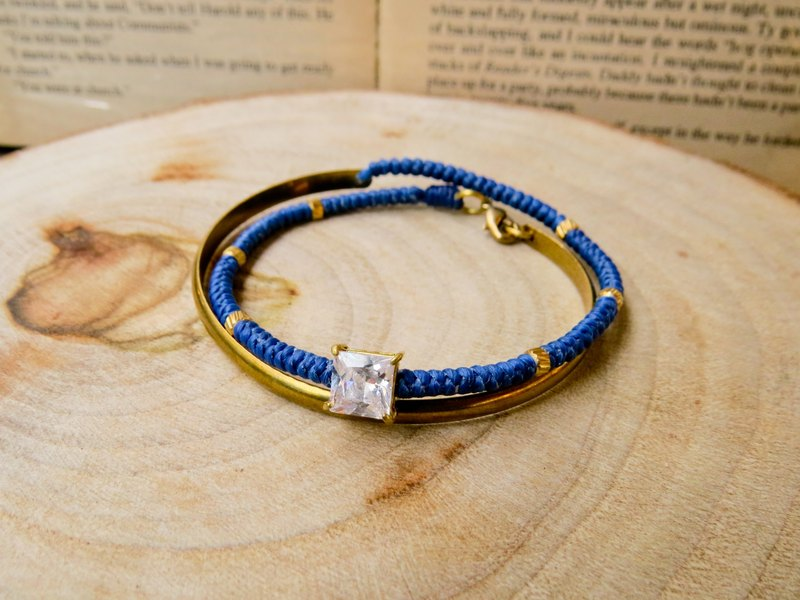 Wing Wing Hand-made jewelry wax line double ring bracelet braided brass