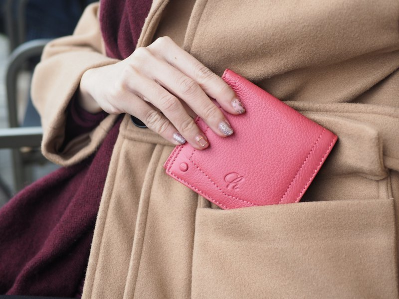 Hannah (Sweet pink) : Small leather short wallet, folded wallet