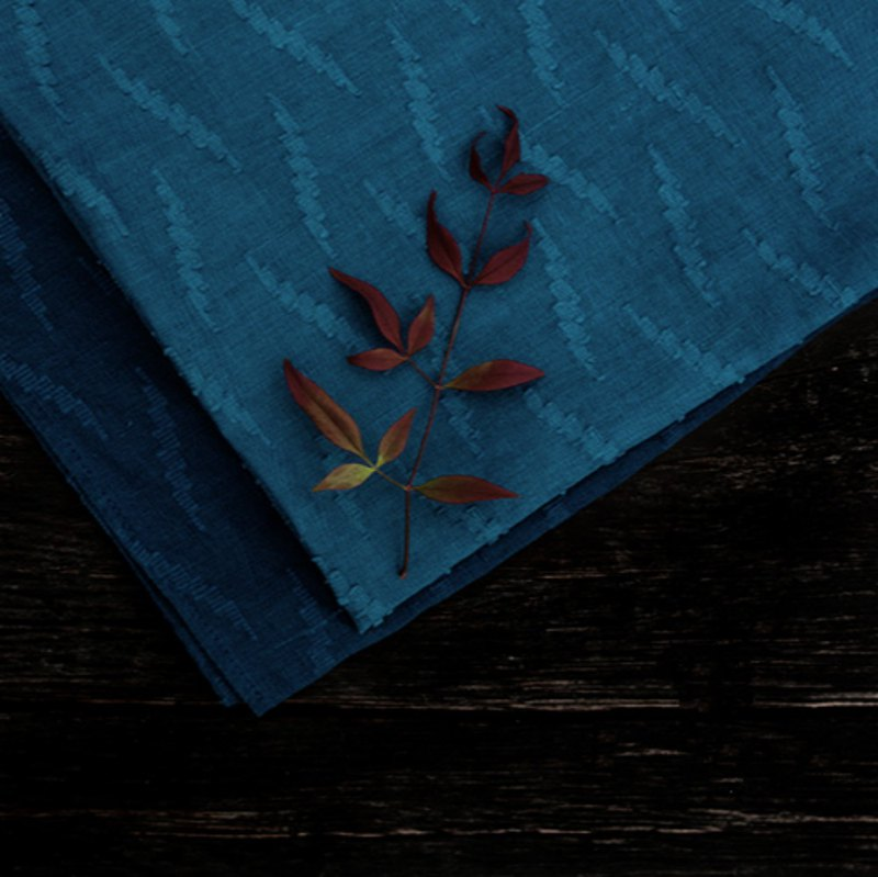 Accompanied | Linen Plain Jacquard Small Square Handmade Natural Plant Blue Stained Handkerchief Can Do Turban Scarf