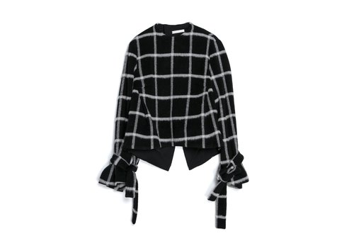 Post-slit tie jacket (black and white checkered)
