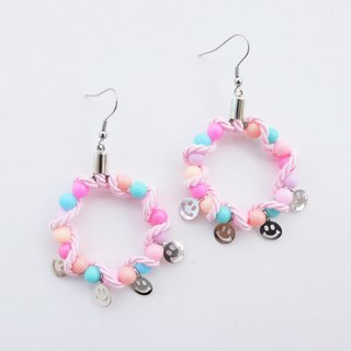 Pink blue bead hoop earrings with pink rope and smiley