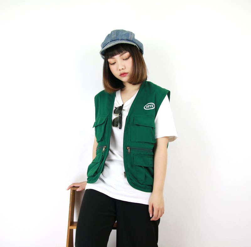 Back to Green Fisherman's vest mint green / / both men and women can wear vintage F-05