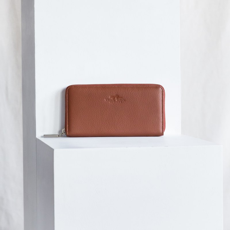 LUCKY-WOMEN MINIMAL LONG SOFT COW LEATHER WALLET-TAN (BROWN)