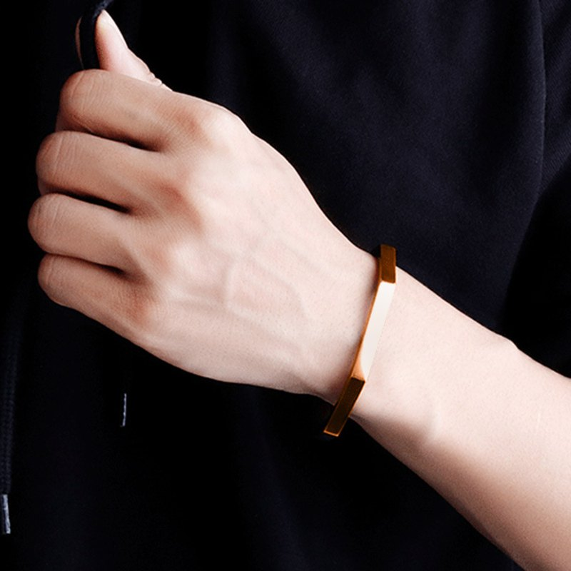 Stainless steel - Rose Gold bangle for men