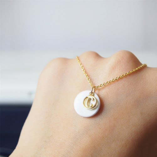 """KeepitPetite"" minimalist white turquoise · custom · gold-plated english letter · gold-plated necklace (45cm / 18 inch) gift"