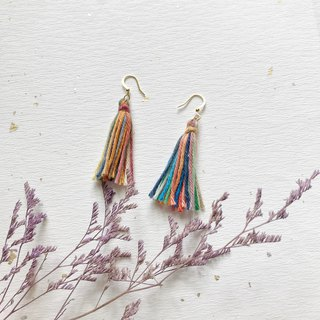 Twilight sky color hand made tassel 18K bag gold Merino earrings can be changed ear clip