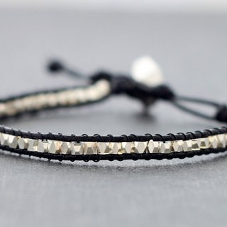 Faceted Silver Beaded Bracelets Leather Unisex Men Women Hipster