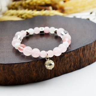 Love Crystal | Pink Crystal - Strawberry Crystal - Moonstone | 925 sterling silver bracelet gift