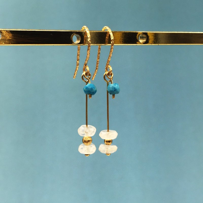Natural Turkish Stone Fashion European and American Moonstone American 14K Gold Earrings Light Jewelry