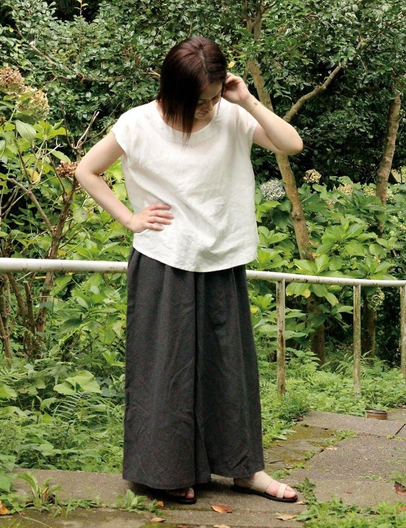 Ultra wide cotton pants charcoal gray