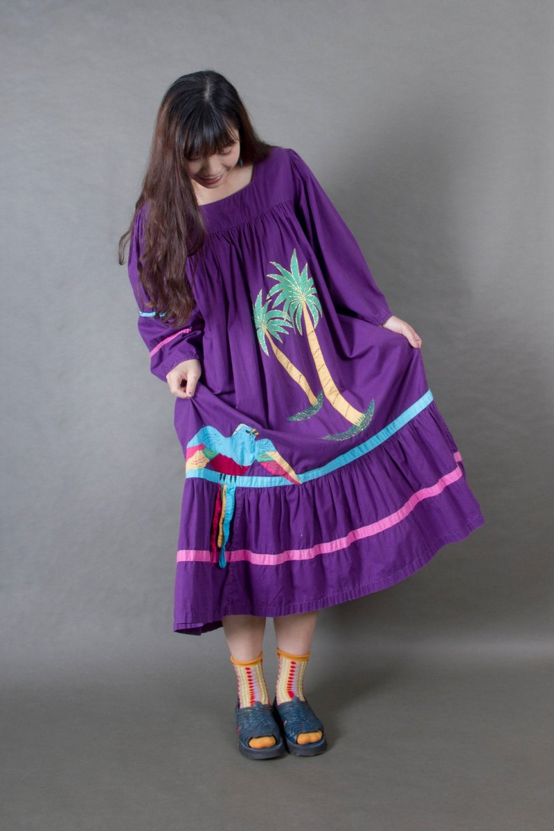 Banana cat. Banana Cats US brand pure cotton purple king coconut tropical parrot ancient dress
