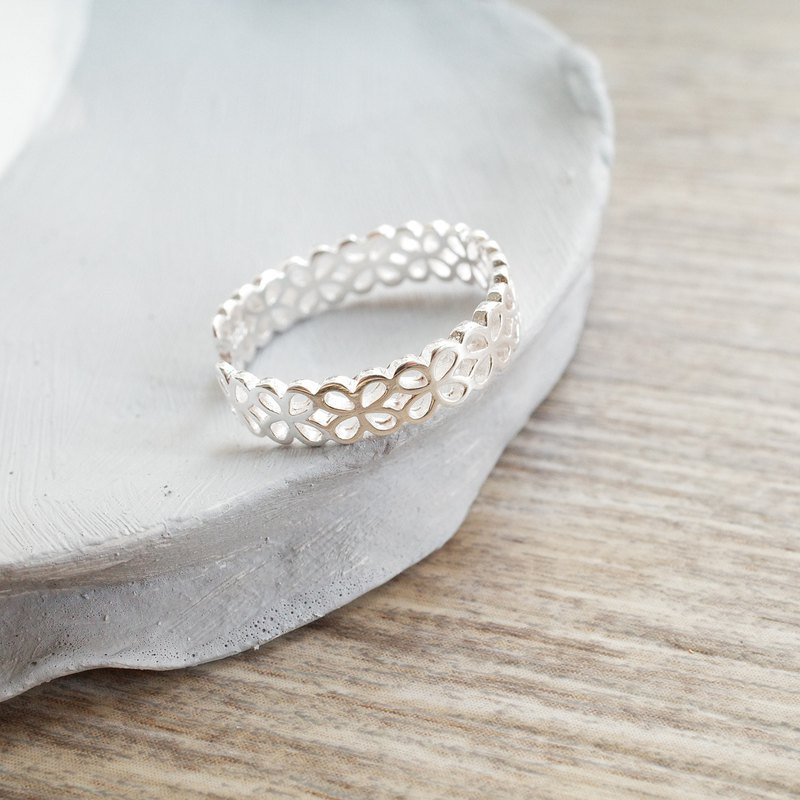 Fine lace ring [925 sterling silver] opening adjustment ring - [match ring] [design ring]