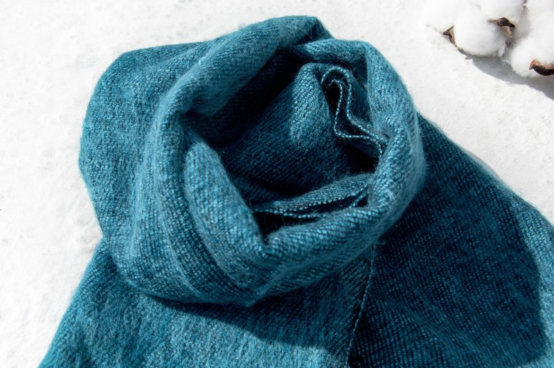 Christmas gift pure wool scarf / handmade knit scarf / woven scarf / pure wool scarf - blue world