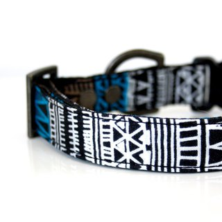 Aztec Triangle BOHO Dog Collar - black, blue, white - Antique brass