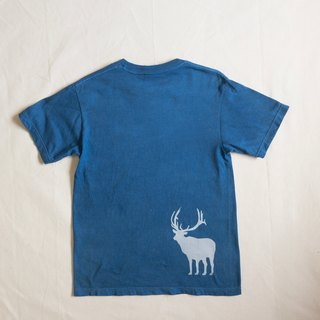 Indigo dyed Aizen - NEW MOON AND DEER TEE