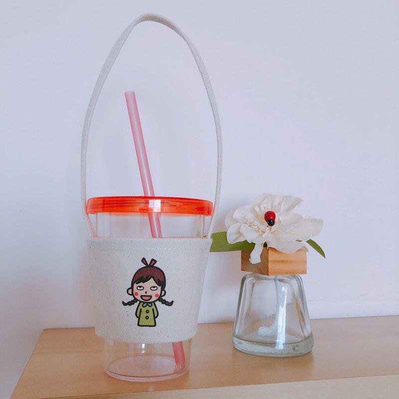 翻白眼 手繪環保杯袋