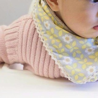 Yellow floral pattern handmade baby/kid scarf