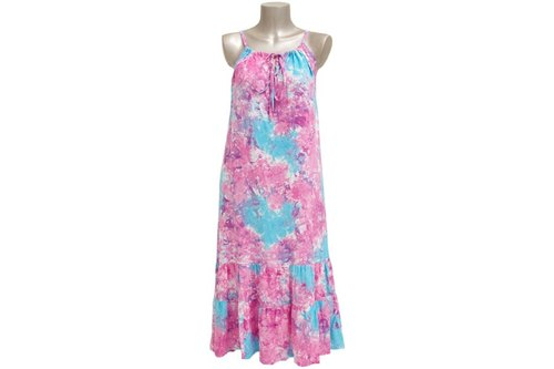 Tropical loose Kawa! Uneven dyed camisole ruffle long dress <Pinky Blue>