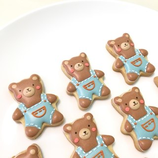 Suspenders bear icing cookies 10 pieces