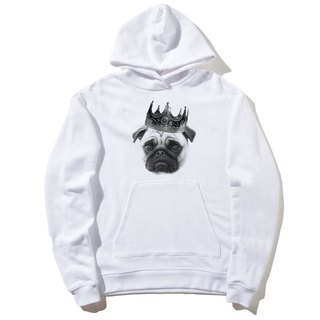 Notorious PUG front figure long-sleeved bristles hooded T neutral version of the white gobag fights dog dogs animals US cotton
