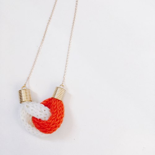 Knitted Knot Heart Necklace - Red with White