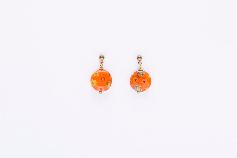 Flower and Fruit Glazed Earrings-Orange