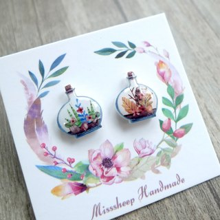 Misssheep-U05- bottle flower hand-painted watercolor style asymmetric earrings (ear/ear clip) (pair)