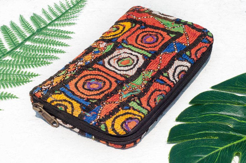 Hand-embroidered wallet national wind long clip embroidery wallet handmade ancient cloth long clip - round embroidery flowers