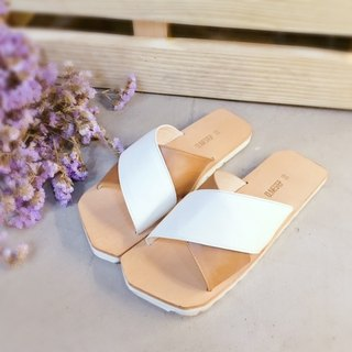 CLAVESTEP X Sandals - Leather Sandals - Ten - Two Tone - White/Coffee