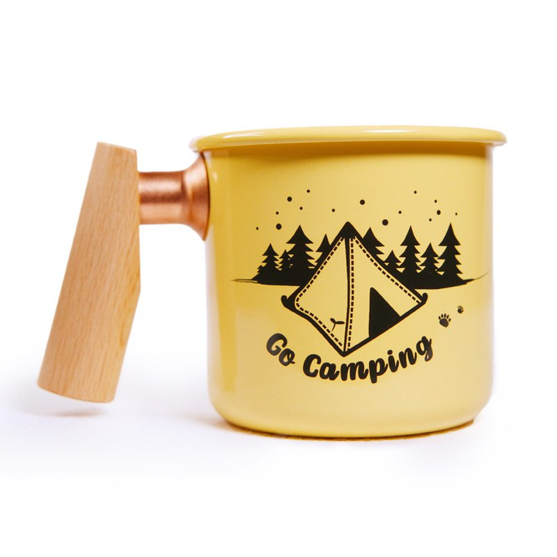Wooden Handle Enamel Cup 400ml (Single Peak) Christmas Valentine's Day Commemorative Gift