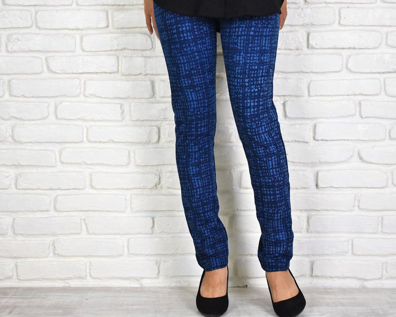 Superb wearing comfort Skinny straight stretch long pants Hand-drawn plaid