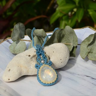 Good Day - Moonstone Jewelry Macrame Necklace& white crystal bracelet