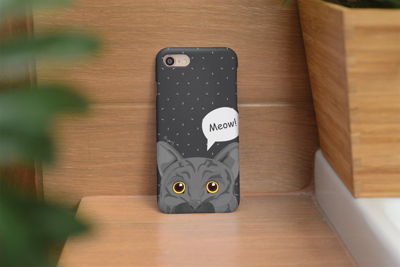 gray cat said meow iphone case สำหรับ iphone 6, 7, 8, iphone xs , iphone xs max