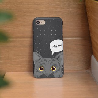 iphone case gray cat said meow for iphone 6, 7, 8, iphone xs , iphone xs max