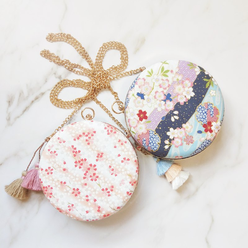 Cherry blossom season honey heart knot cherry blossom series small round bag tassel two sides three-style portable shoulder shoulder shoulder gold bag