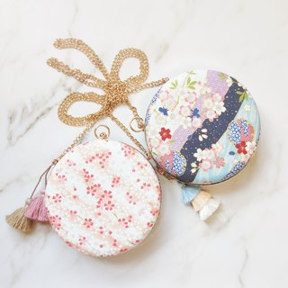 闺 心 heart heart cherry blossom series small round bag double tassel special two-sided three-style portable shoulder shoulder shoulder gold bag