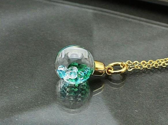 Bijou Glass Ball Pendant green ice blue color