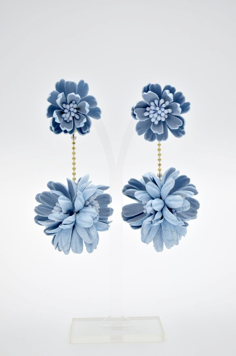 Blue Stereo Embossed Daisy Flower Ball Earrings Baby Blue Daisy Ball Earrings