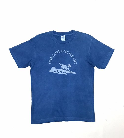 [Order production] Indigo dyed indigo - DOG / ONE LOVE TEE