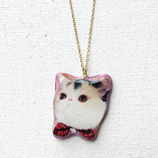 Cat Jojo in Bowtie Stardust 22k gold Handmade Necklace