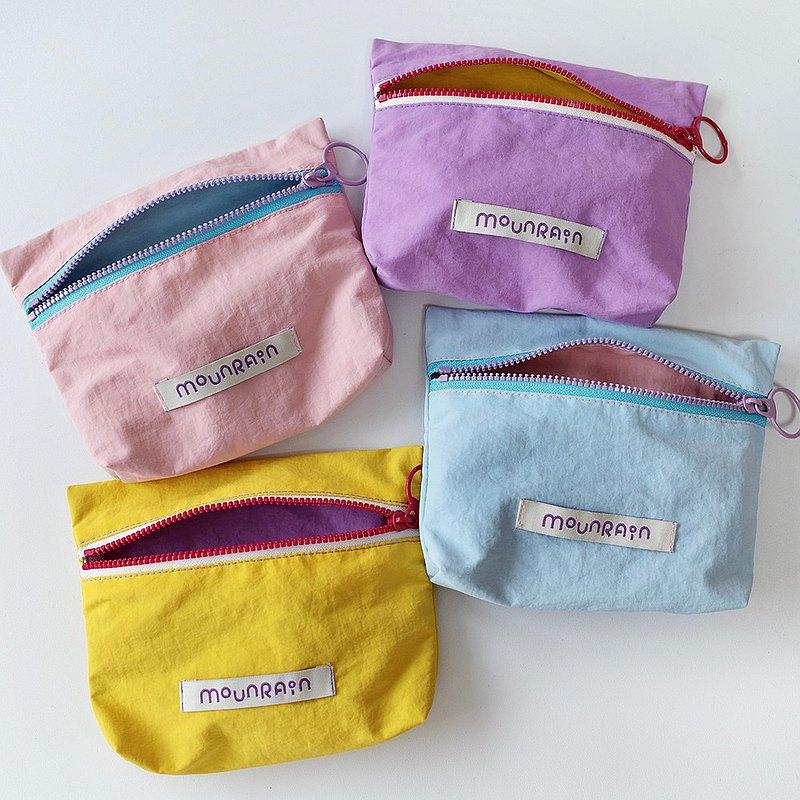 四色入 | 運動風拉鏈收納袋彩色 可愛小零錢包化妝品拉鏈包
